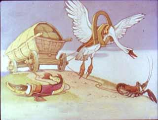 Лебедь, рак, осел да щука